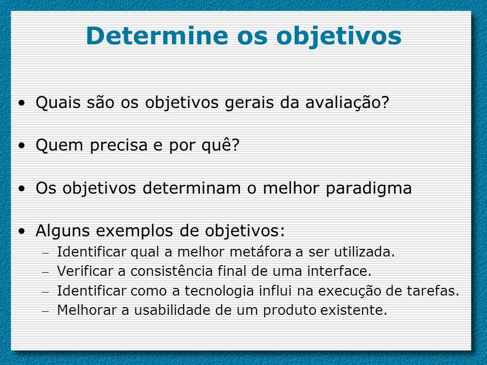 Determine os objetivos Quais são os objetivos gerais da avaliação? Quem precisa e por quê? Os objetivos determinam o melhor paradigma Alguns exemplos
