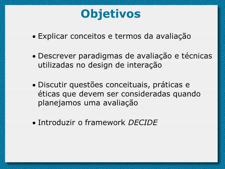 Objetivos Explicar conceitos e termos da avaliação Descrever paradigmas de avaliação e técnicas utilizadas no design de interação Discutir questões co