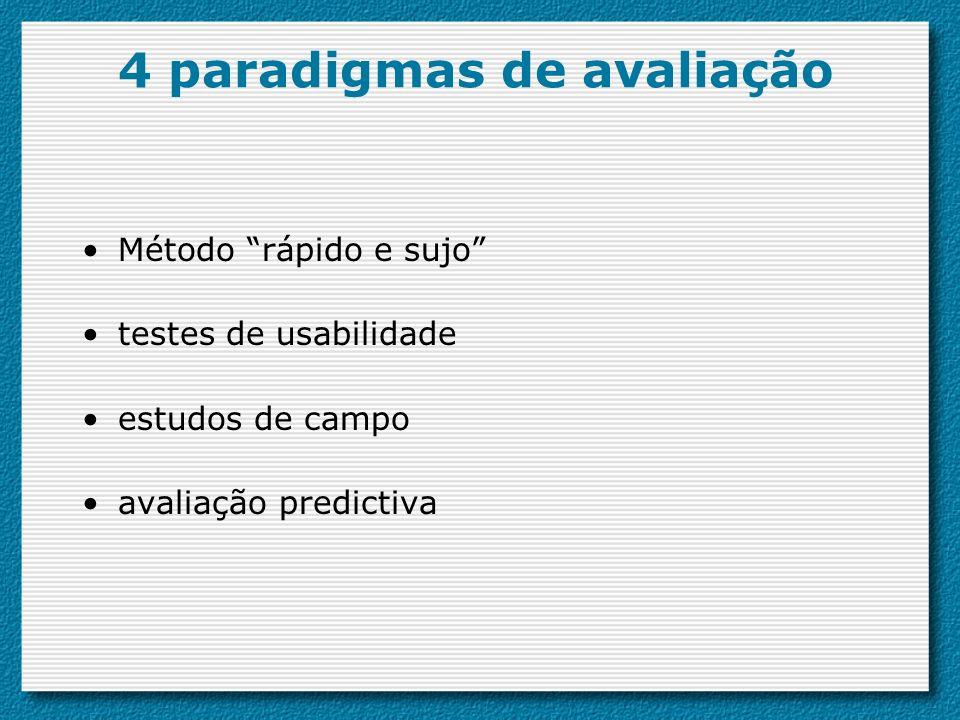 4 paradigmas de avaliação Método rápido e sujo testes de usabilidade estudos de campo avaliação predictiva