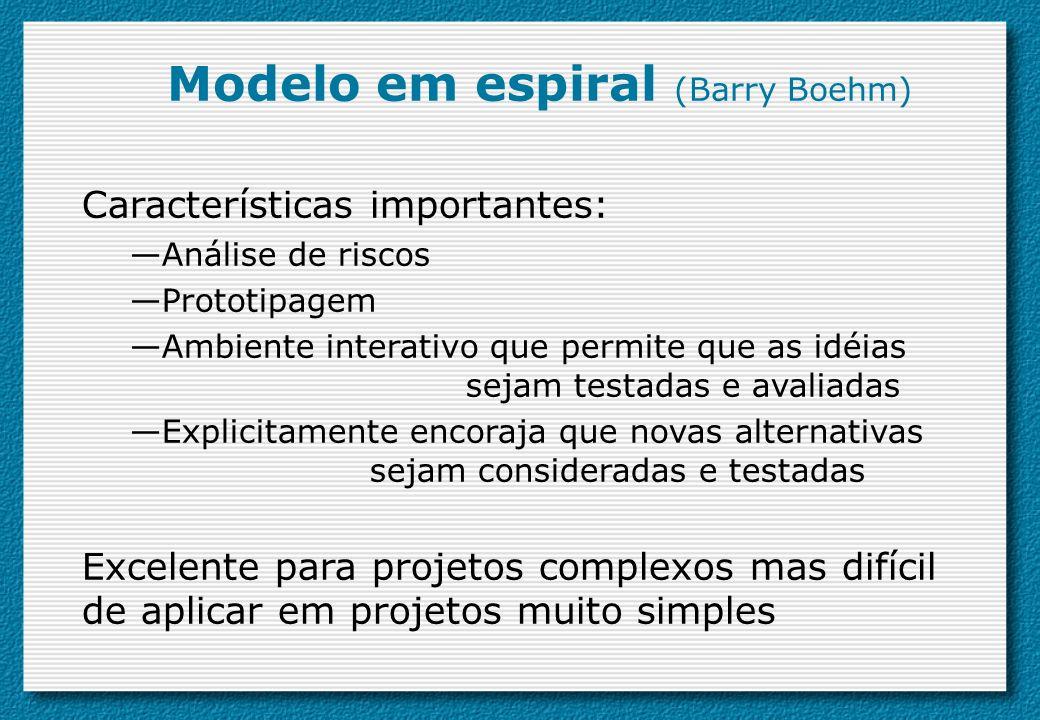 Características importantes: Análise de riscos Prototipagem Ambiente interativo que permite que as idéias sejam testadas e avaliadas Explicitamente en
