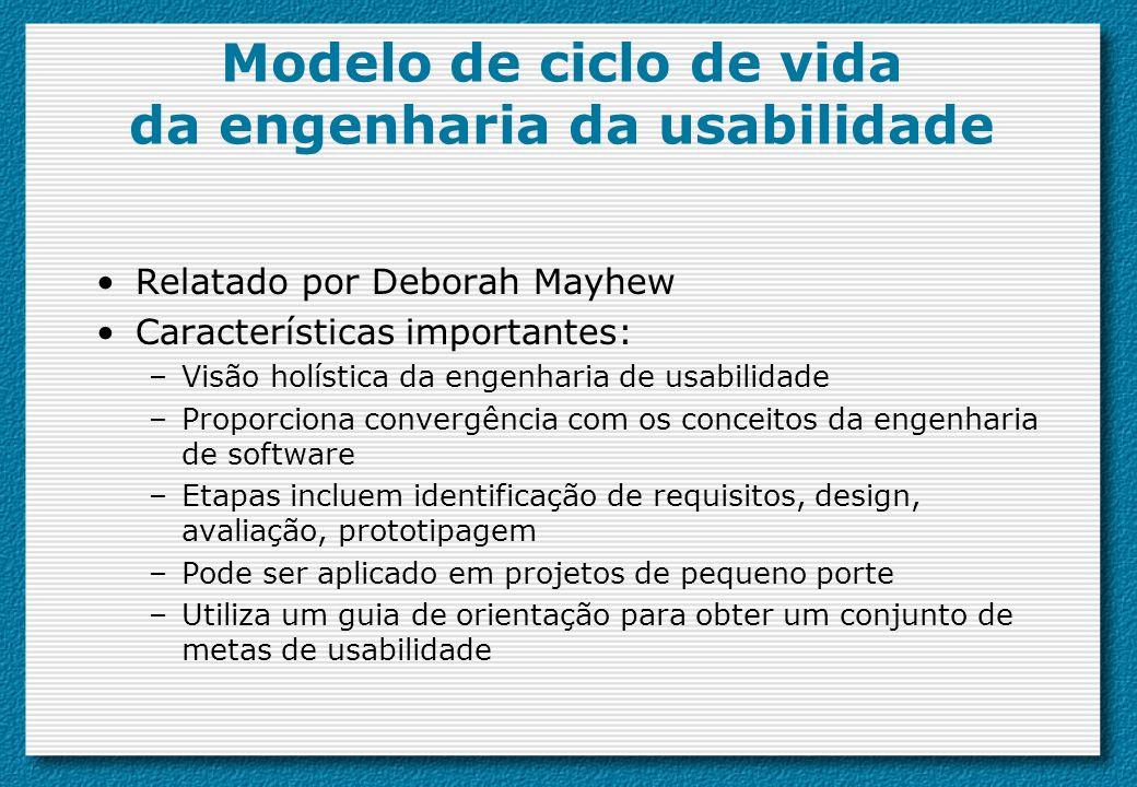 Modelo de ciclo de vida da engenharia da usabilidade Relatado por Deborah Mayhew Características importantes: –Visão holística da engenharia de usabil
