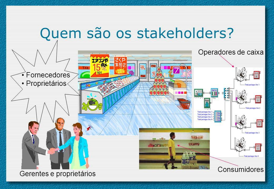 Quem são os stakeholders? Operadores de caixa Consumidores Gerentes e proprietários Fornecedores Proprietários