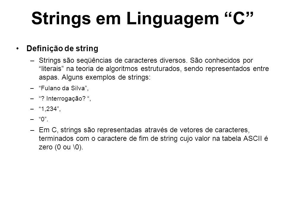 Strings em Linguagem C Declaração de string Um vetor em C que pretenda armazenar uma string n caracteres deve ser alocado com n+1 posições do tipo char para conter o terminador de string.