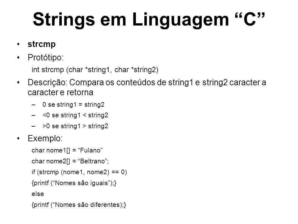Strings em Linguagem C strcat Protótipo: strcat (char *string_destino, char *string_origem) Descrição: Concatena os conteúdos de string1 e string2 Exemplo: char nome1[] = Fulano char nome2[] = da Silva; char nome_completo[30]=; strcat(nome_completo, nome1); printf (%s\n, nome_completo); strcat(nome_completo, nome2); printf (%s\n, nome_completo); Este programa imprimirá: Fulano Fulano da Silva