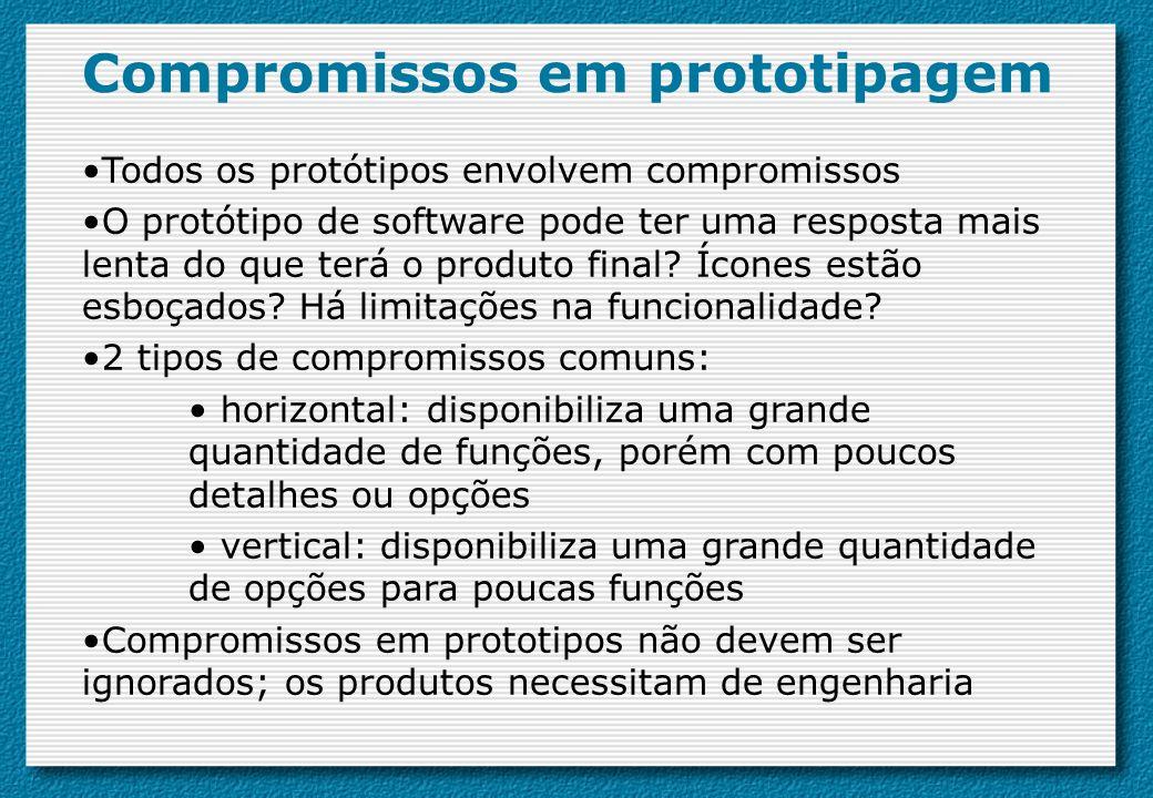 Compromissos em prototipagem Todos os protótipos envolvem compromissos O protótipo de software pode ter uma resposta mais lenta do que terá o produto