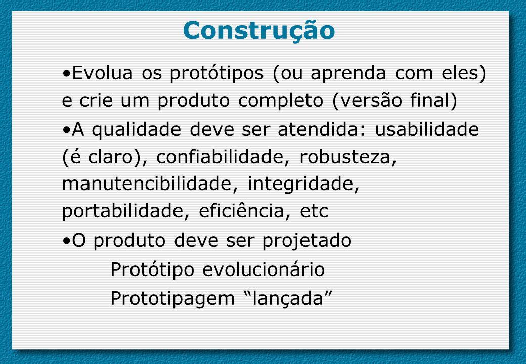 Construção Evolua os protótipos (ou aprenda com eles) e crie um produto completo (versão final) A qualidade deve ser atendida: usabilidade (é claro),