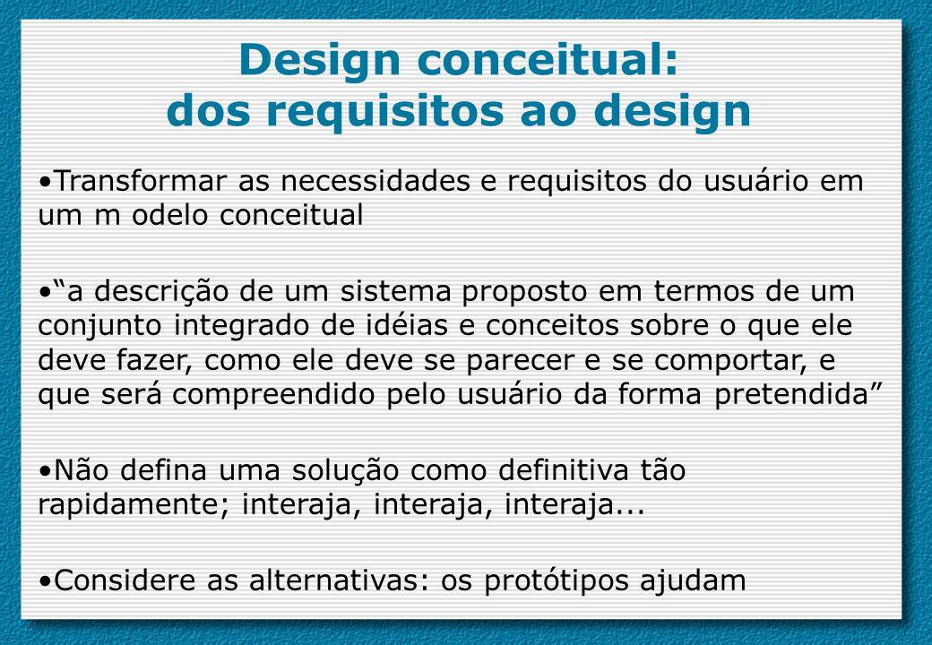 Design conceitual: dos requisitos ao design Transformar as necessidades e requisitos do usuário em um m odelo conceitual a descrição de um sistema pro