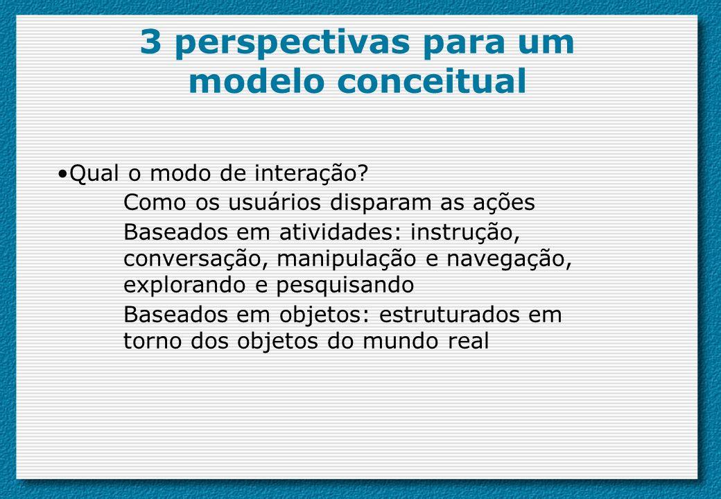 3 perspectivas para um modelo conceitual Qual o modo de interação? Como os usuários disparam as ações Baseados em atividades: instrução, conversação,