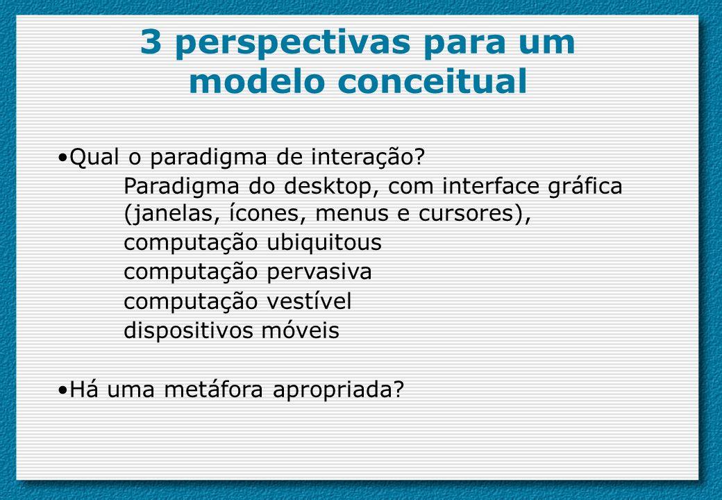 Qual o paradigma de interação? Paradigma do desktop, com interface gráfica (janelas, ícones, menus e cursores), computação ubiquitous computação perva