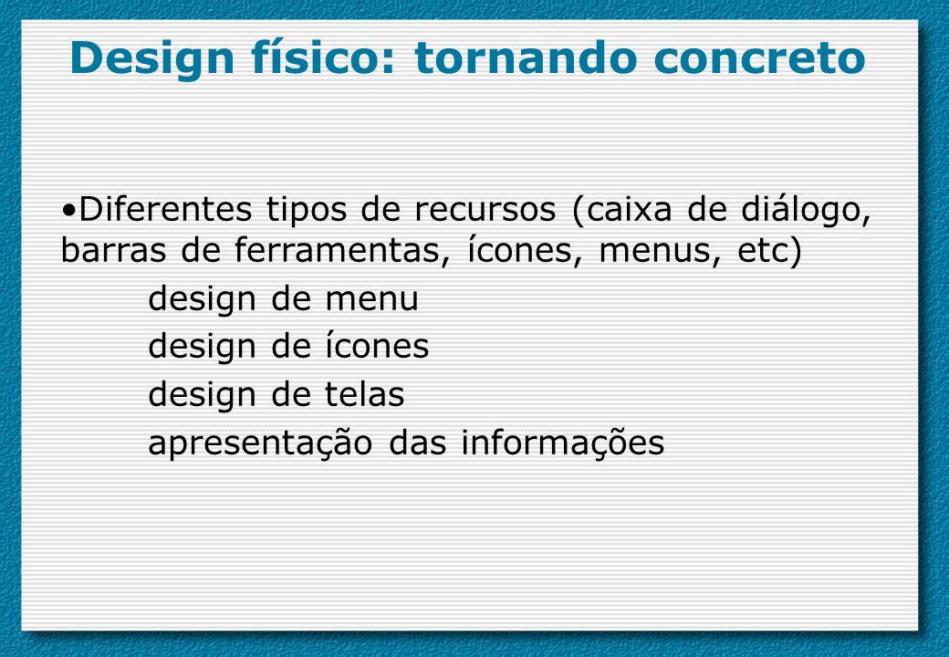 Diferentes tipos de recursos (caixa de diálogo, barras de ferramentas, ícones, menus, etc) design de menu design de ícones design de telas apresentaçã