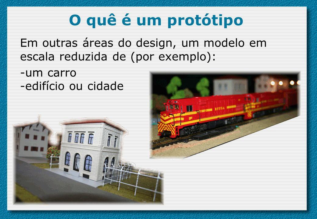 O quê é um protótipo Em outras áreas do design, um modelo em escala reduzida de (por exemplo): -um carro -edifício ou cidade