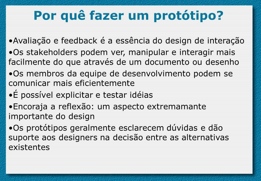 Por quê fazer um protótipo? Avaliação e feedback é a essência do design de interação Os stakeholders podem ver, manipular e interagir mais facilmente