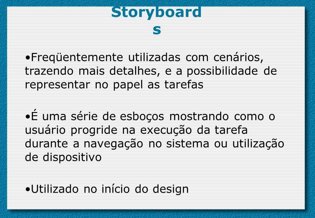 Storyboard s Freqüentemente utilizadas com cenários, trazendo mais detalhes, e a possibilidade de representar no papel as tarefas É uma série de esboç