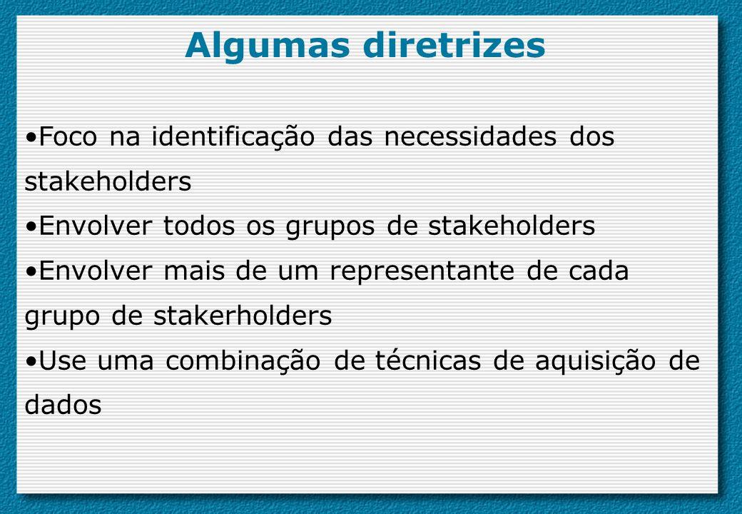 Algumas diretrizes Foco na identificação das necessidades dos stakeholders Envolver todos os grupos de stakeholders Envolver mais de um representante