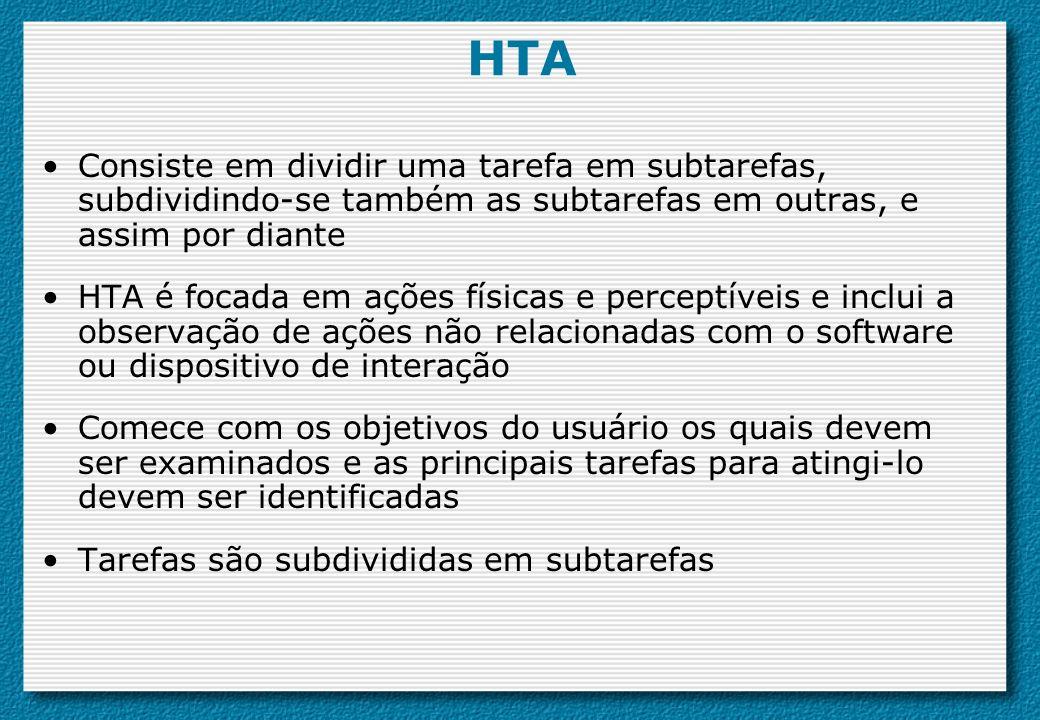 HTA Consiste em dividir uma tarefa em subtarefas, subdividindo-se também as subtarefas em outras, e assim por diante HTA é focada em ações físicas e p