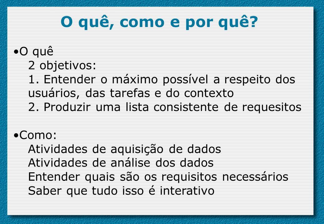 O quê, como e por quê? O quê 2 objetivos: 1. Entender o máximo possível a respeito dos usuários, das tarefas e do contexto 2. Produzir uma lista consi