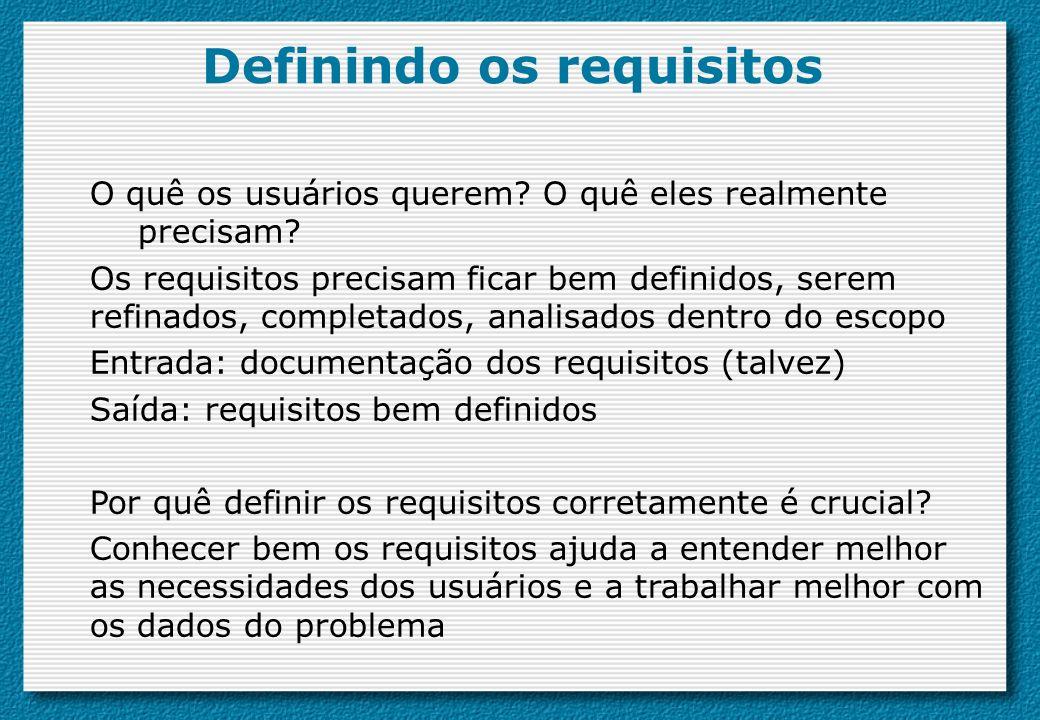 Definindo os requisitos O quê os usuários querem? O quê eles realmente precisam? Os requisitos precisam ficar bem definidos, serem refinados, completa