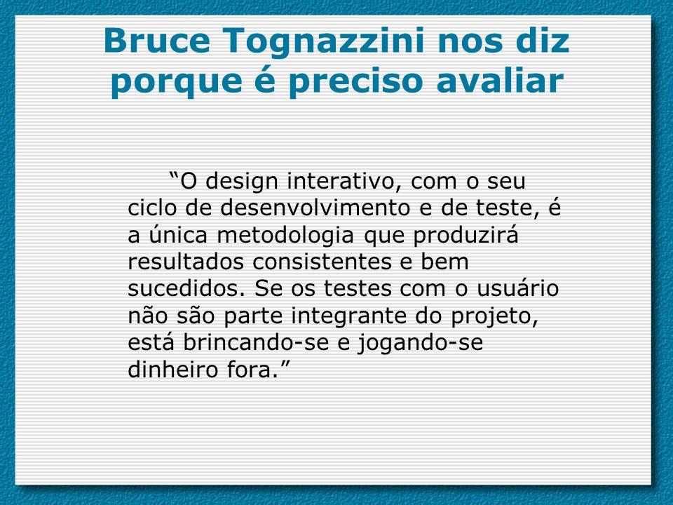 Bruce Tognazzini nos diz porque é preciso avaliar O design interativo, com o seu ciclo de desenvolvimento e de teste, é a única metodologia que produzirá resultados consistentes e bem sucedidos.