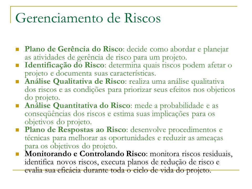 Gerenciamento de Riscos Plano de Gerência do Risco: decide como abordar e planejar as atividades de gerência de risco para um projeto. Identificação d