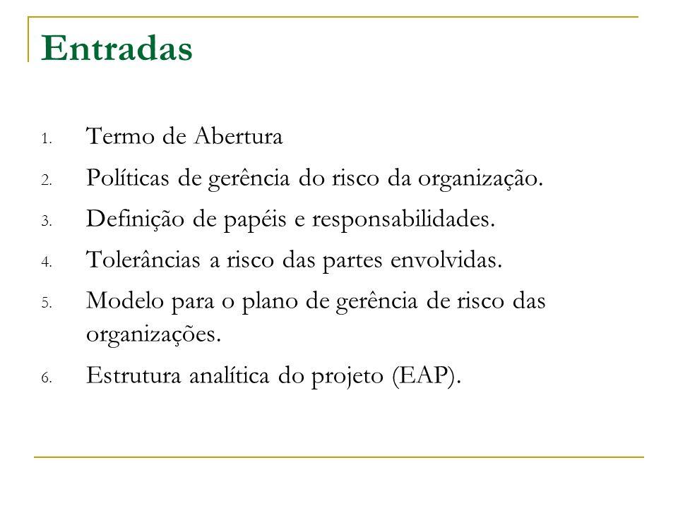 Entradas 1. Termo de Abertura 2. Políticas de gerência do risco da organização. 3. Definição de papéis e responsabilidades. 4. Tolerâncias a risco das