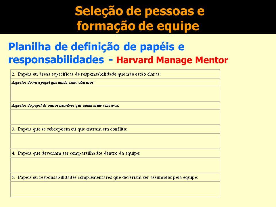 Seleção de pessoas e formação de equipe Planilha de definição de papéis e responsabilidades - Harvard Manage Mentor
