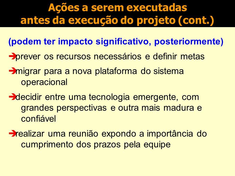 (podem ter impacto significativo, posteriormente) realizar contratos de utilização dos softwares necessários ao projeto prever a multifuncionalidade d