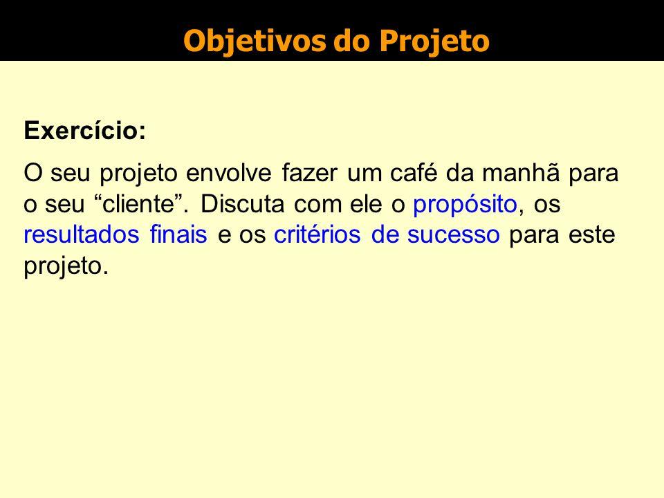 Objetivos do projeto Exemplo: projeto Melhorar o processo produtivo X propósito - garantir que se atinjam as metas estabelecidas para o nível de produ