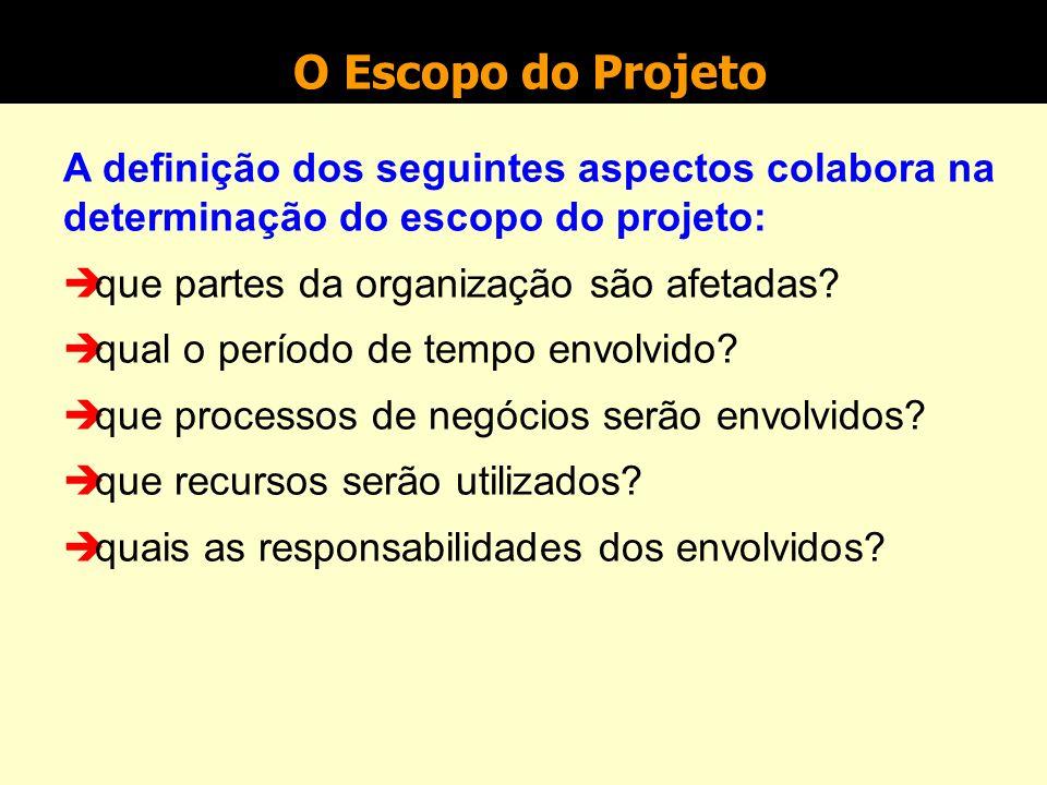 O Escopo do Projeto Identifica o conteúdo e os produtos ou resultados do projeto.