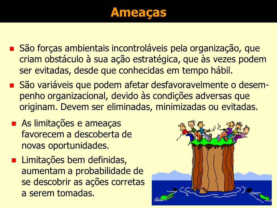 Oportunidades n São forças ambientais incontroláveis pela organização, que podem favorecer a sua ação estratégica, desde que conhe- cidas e aproveitadas satisfatoriamente enquanto perduram.