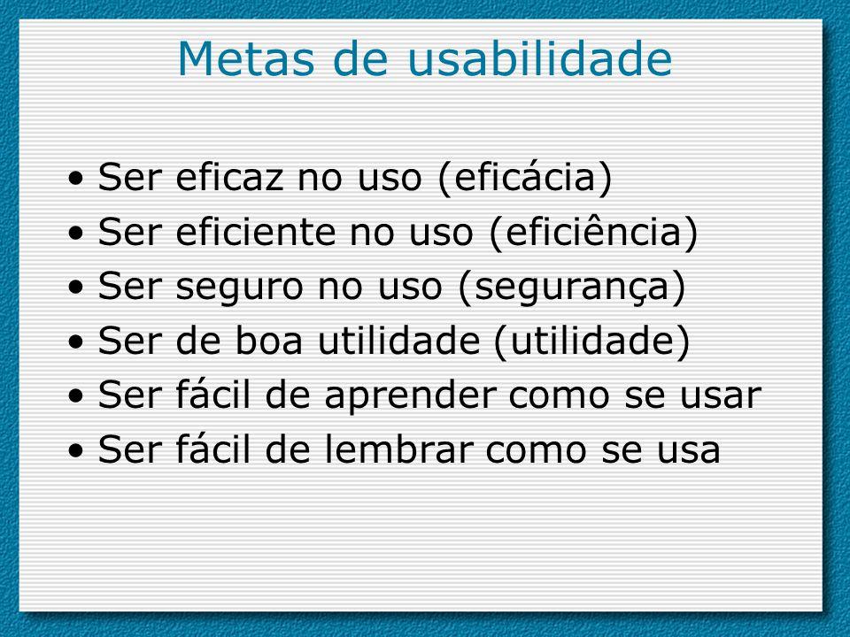 Metas de usabilidade Ser eficaz no uso (eficácia) Ser eficiente no uso (eficiência) Ser seguro no uso (segurança) Ser de boa utilidade (utilidade) Ser