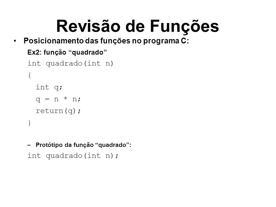 Revisão de Funções Posicionamento das funções no programa C: Ex2: função quadrado int quadrado(int n) { int q; q = n * n; return(q); } –Protótipo da f
