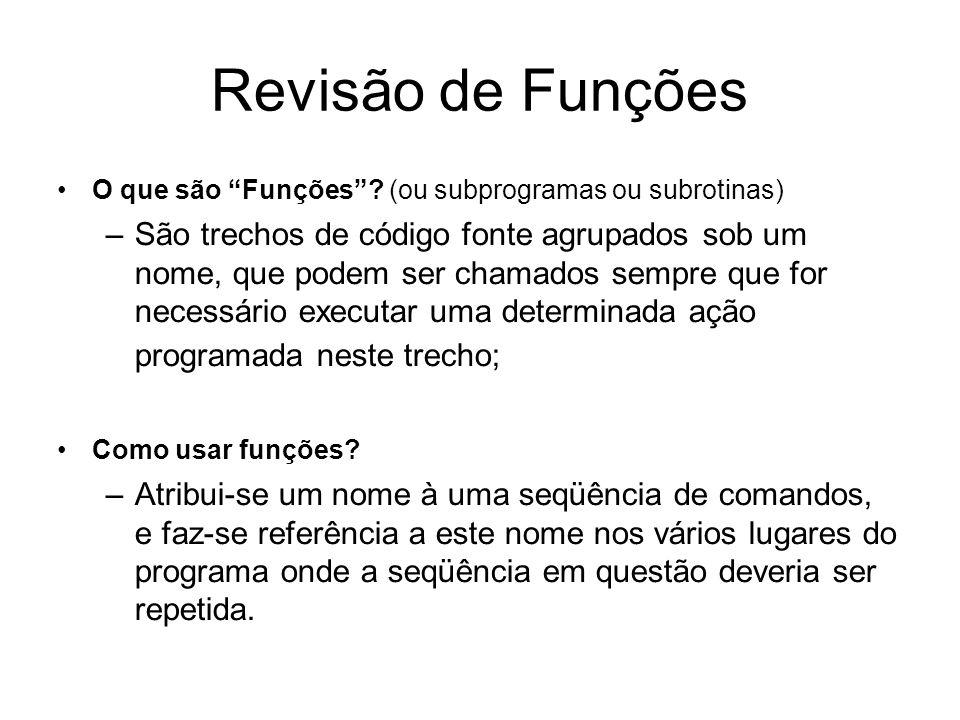 Revisão de Funções O que são Funções? (ou subprogramas ou subrotinas) –São trechos de código fonte agrupados sob um nome, que podem ser chamados sempr