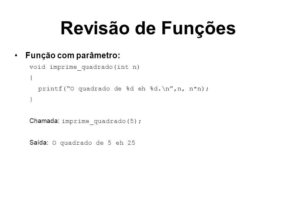 Revisão de Funções Função com parâmetro: void imprime_quadrado(int n) { printf(O quadrado de %d eh %d.\n,n, n*n); } Chamada: imprime_quadrado(5); Saíd