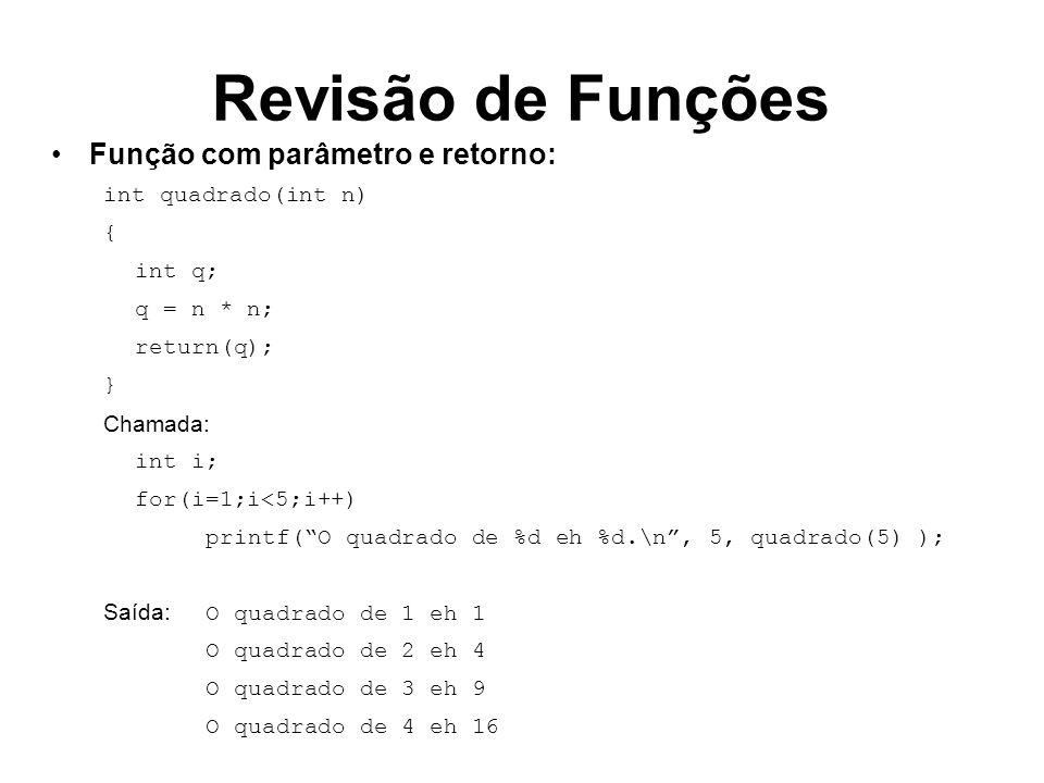 Revisão de Funções Função com diversos parâmetros e retorno: int potencia(int n, int p) { int i,resultado=1; for(i=1;i<=p;i++) resultado = resultado * n; return(resultado); } Chamada: printf(%d elevado a %d vale %d.\n,2,4,potencia(2,4)); Saída: 2 elevado a 4 vale 16
