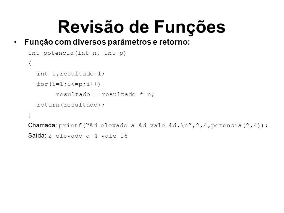 Revisão de Funções Função com diversos parâmetros e retorno: int potencia(int n, int p) { int i,resultado=1; for(i=1;i<=p;i++) resultado = resultado * n; return(resultado); } Chamada: int i; for(i=1;i<5;i++) printf(%d elevado a %d vale %d.\n,2,i,potencia(2,i)); Saída: 2 elevado a 1 vale 1 2 elevado a 2 vale 4 2 elevado a 3 vale 8 2 elevado a 4 vale 16