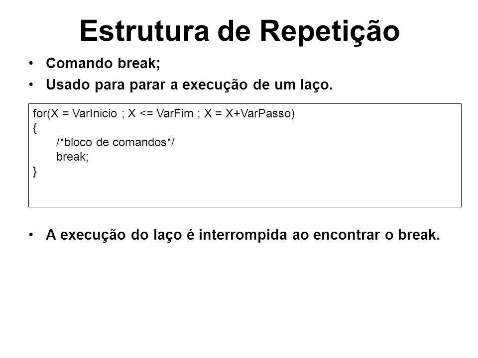 Estrutura de Repetição Comando break; Usado para parar a execução de um laço. A execução do laço é interrompida ao encontrar o break. for(X = VarInici