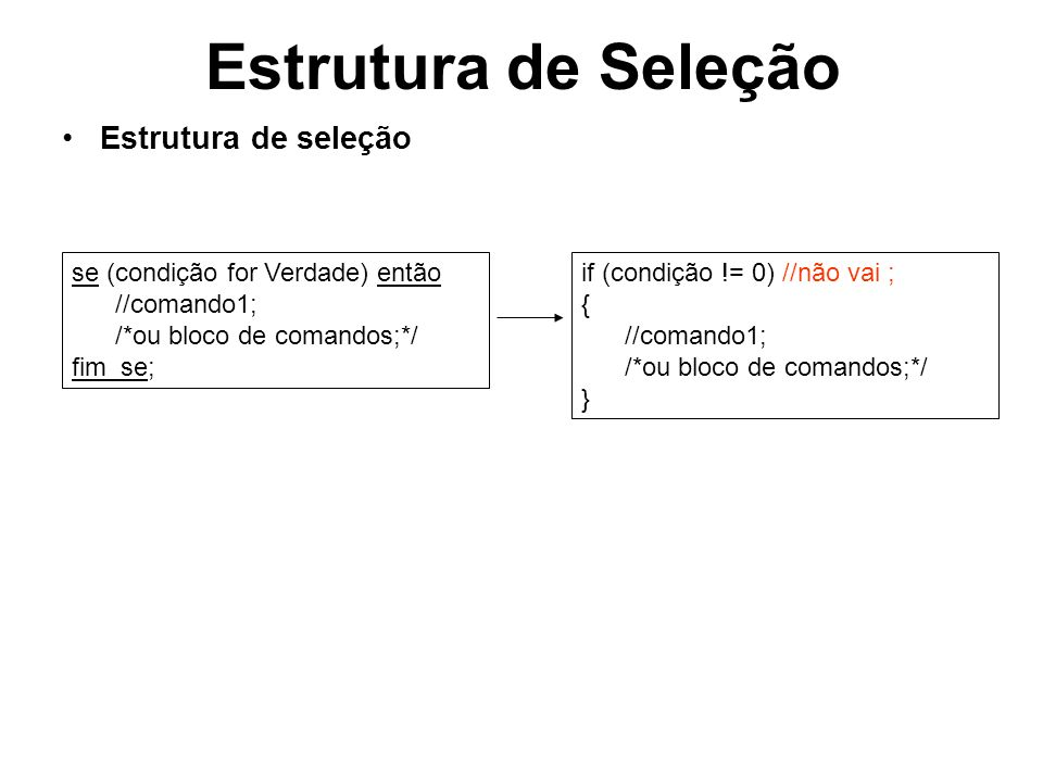 Estrutura de Seleção Estrutura de seleção composta se (condição for Verdade) então comando1; {ou bloco de comandos}; senão comando1; {ou bloco de comandos}; fim_se; if (condição != 0) //não vai ; { comando1; {ou bloco de comandos}; } else //não vai ; { comando1; {ou bloco de comandos}; }