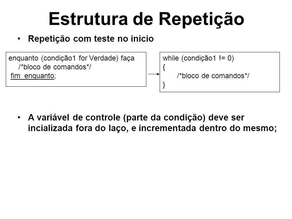 Estrutura de Repetição Repetição com teste no inicio A variável de controle (parte da condição) deve ser incializada fora do laço, e incrementada dent