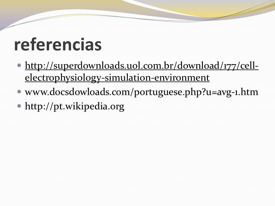 referencias http://superdownloads.uol.com.br/download/177/cell- electrophysiology-simulation-environment www.docsdowloads.com/portuguese.php?u=avg-1.h