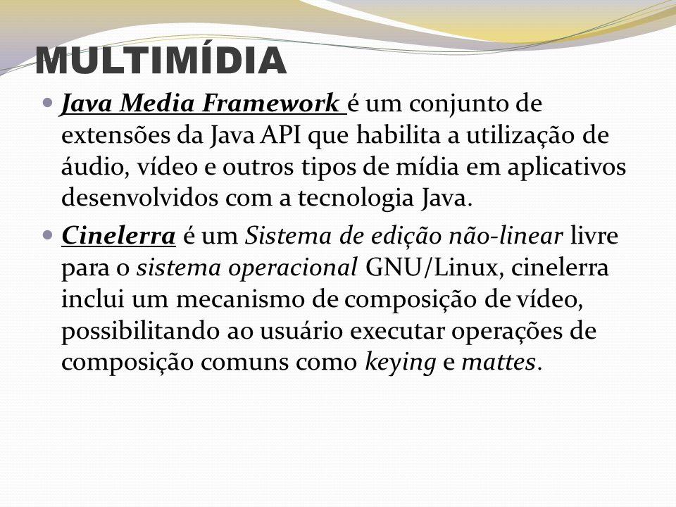 MULTIMÍDIA Java Media Framework é um conjunto de extensões da Java API que habilita a utilização de áudio, vídeo e outros tipos de mídia em aplicativo