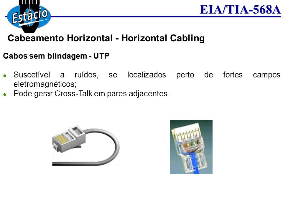 EIA/TIA-568A Cabos sem blindagem - UTP Suscetível a ruídos, se localizados perto de fortes campos eletromagnéticos; Pode gerar Cross-Talk em pares adj