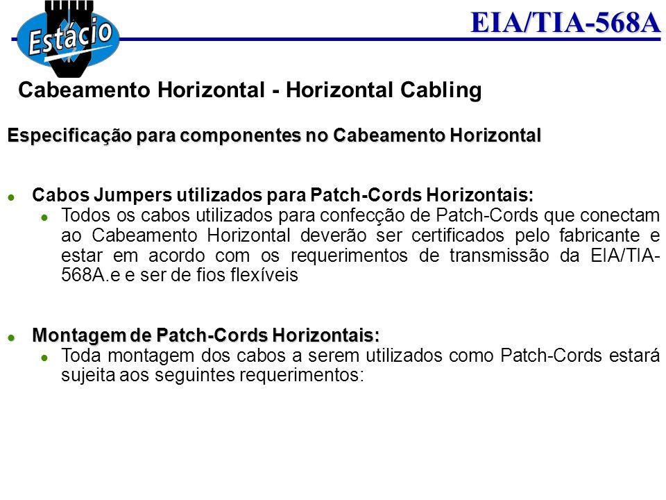 EIA/TIA-568A Especificação para componentes no Cabeamento Horizontal Cabos Jumpers utilizados para Patch-Cords Horizontais: Todos os cabos utilizados