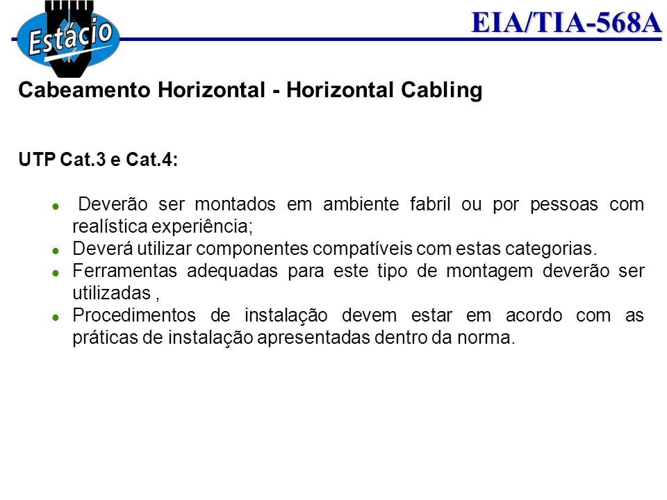 EIA/TIA-568A UTP Cat.3 e Cat.4: Deverão ser montados em ambiente fabril ou por pessoas com realística experiência; Deverá utilizar componentes compatí