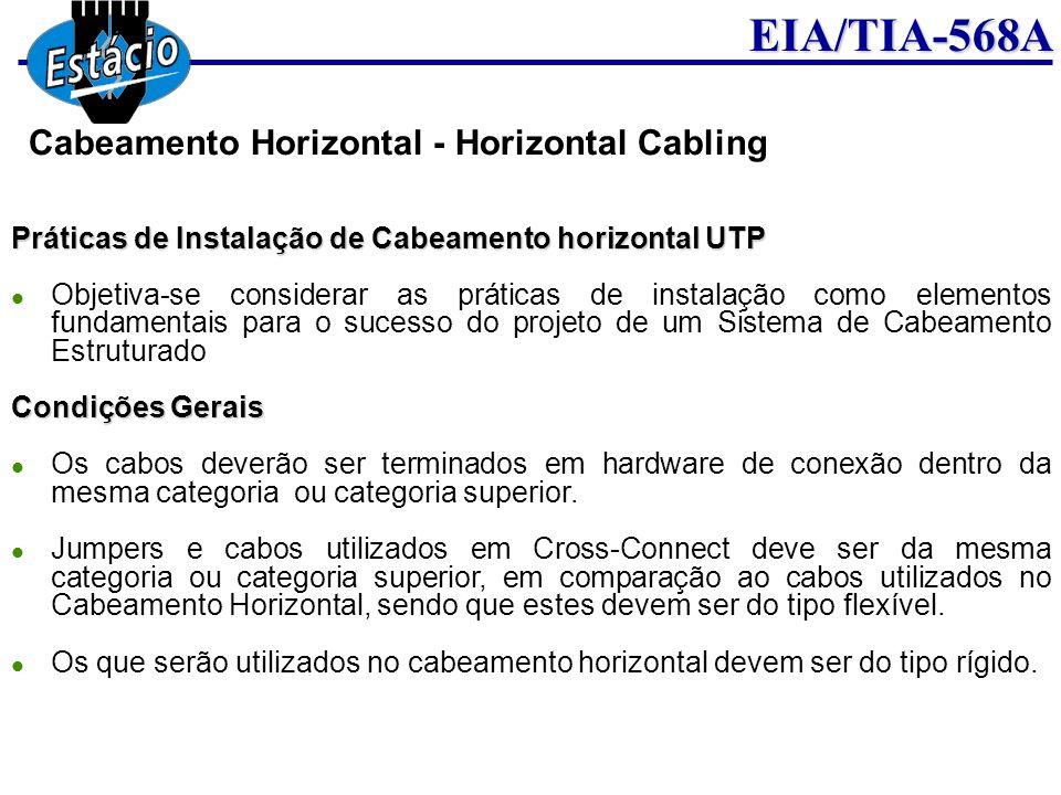 EIA/TIA-568A Práticas de Instalação de Cabeamento horizontal UTP Objetiva-se considerar as práticas de instalação como elementos fundamentais para o s