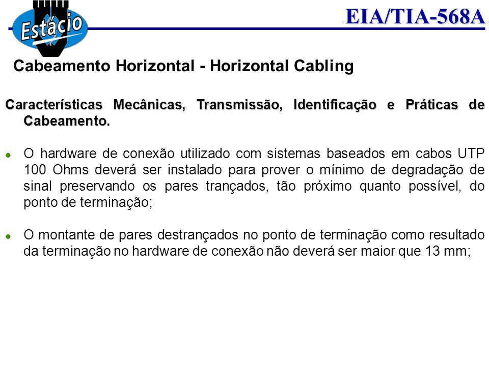 EIA/TIA-568A Características Mecânicas, Transmissão, Identificação e Práticas de Cabeamento. O hardware de conexão utilizado com sistemas baseados em