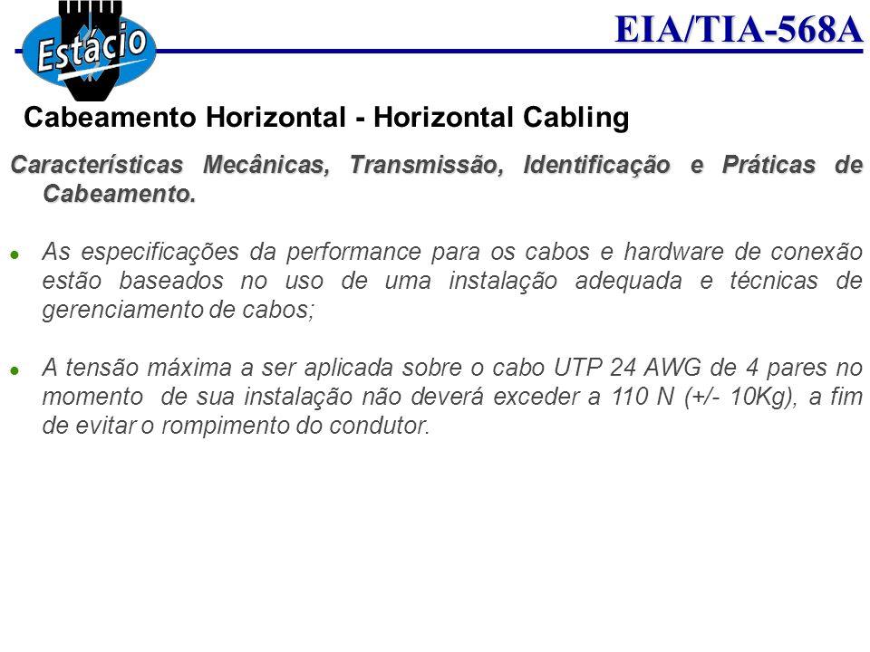 EIA/TIA-568A Características Mecânicas, Transmissão, Identificação e Práticas de Cabeamento. As especificações da performance para os cabos e hardware