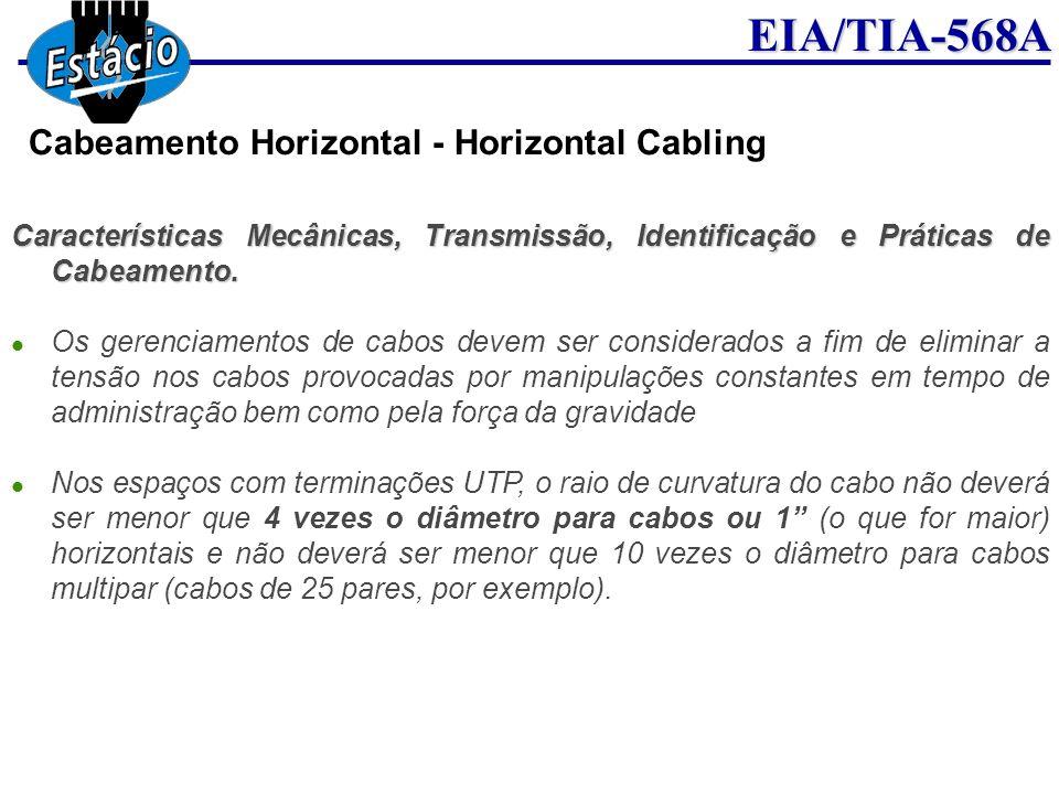 EIA/TIA-568A Características Mecânicas, Transmissão, Identificação e Práticas de Cabeamento. Os gerenciamentos de cabos devem ser considerados a fim d