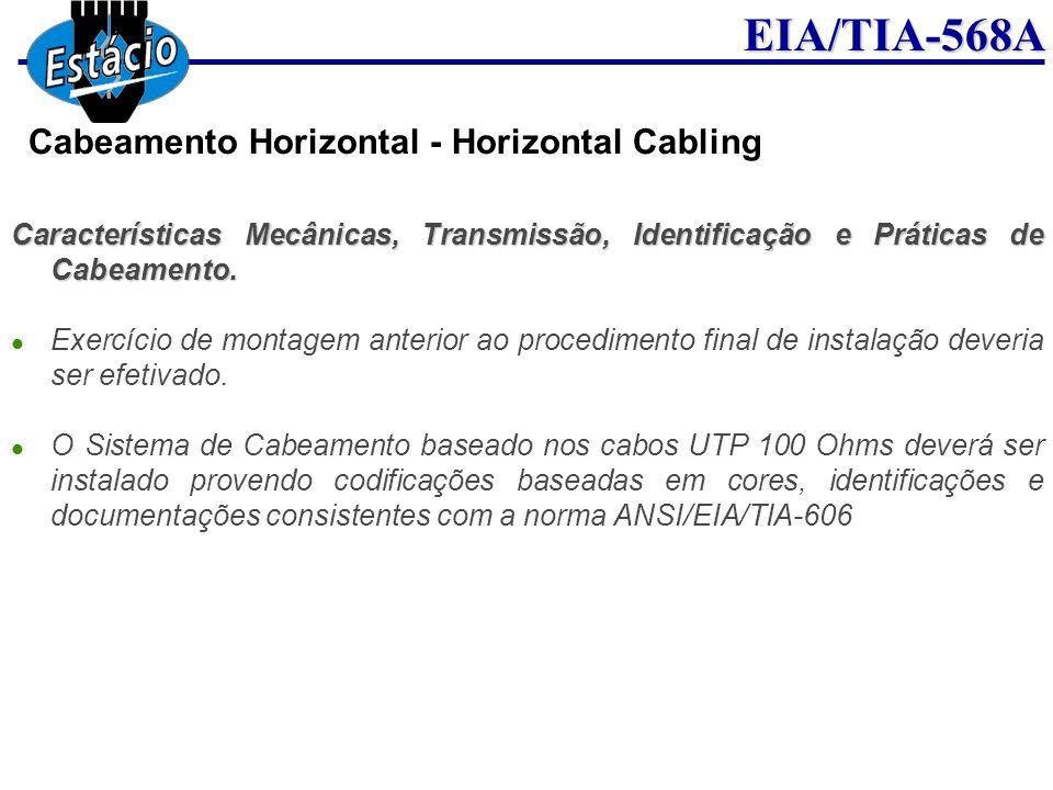 EIA/TIA-568A Características Mecânicas, Transmissão, Identificação e Práticas de Cabeamento. Exercício de montagem anterior ao procedimento final de i