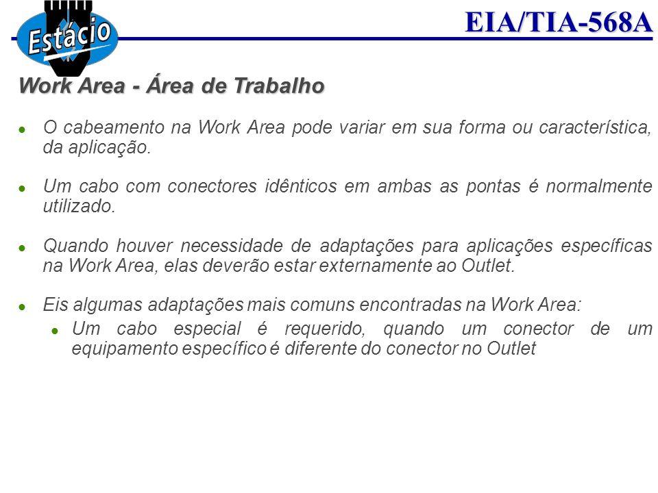 EIA/TIA-568A Work Area - Área de Trabalho O cabeamento na Work Area pode variar em sua forma ou característica, da aplicação. Um cabo com conectores i