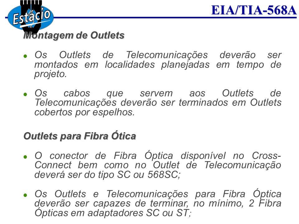 EIA/TIA-568A Montagem de Outlets Os Outlets de Telecomunicações deverão ser montados em localidades planejadas em tempo de projeto. Os cabos que serve